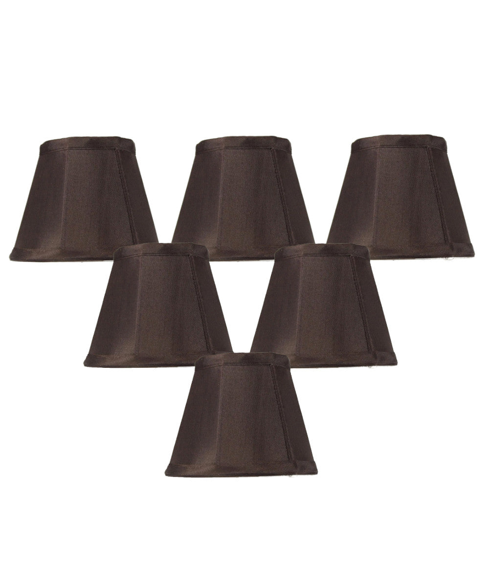 "5""W x 4""H Set of 6 Chandelier Chocolate Bavarian Fabric Clip-On Lampshade"
