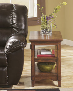 Cross Island Chair Side End Table Medium Brown