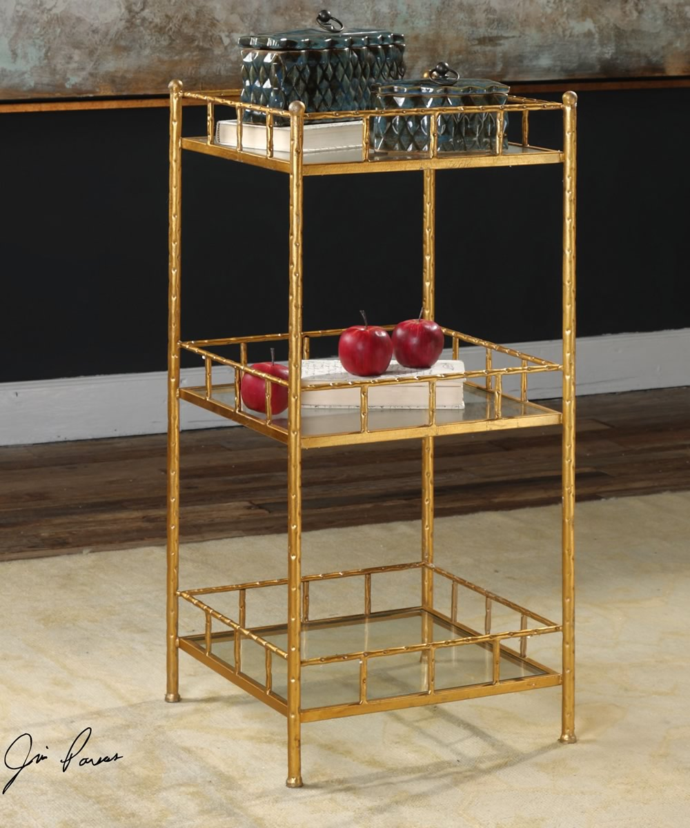 "36""H Tilly Gold Accent Shelf Table"