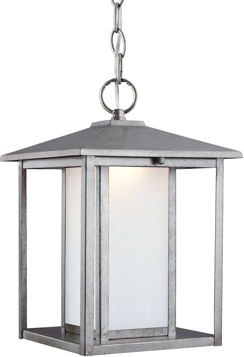 "9""W Hunnington 1-Light LED Outdoor Pendant Light Weathered Pewter"