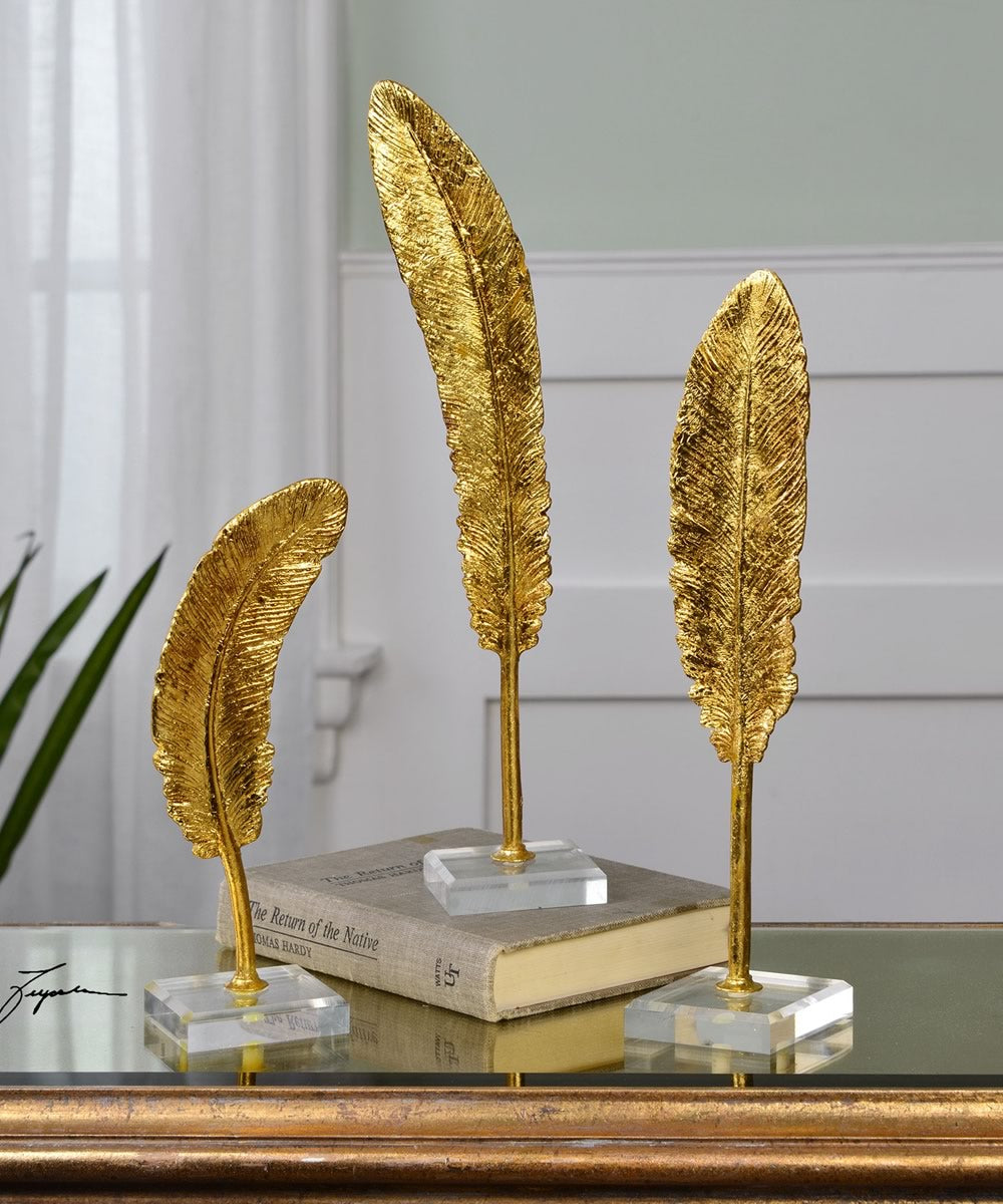 "16""H Feathers Gold Sculpture Set of 3"