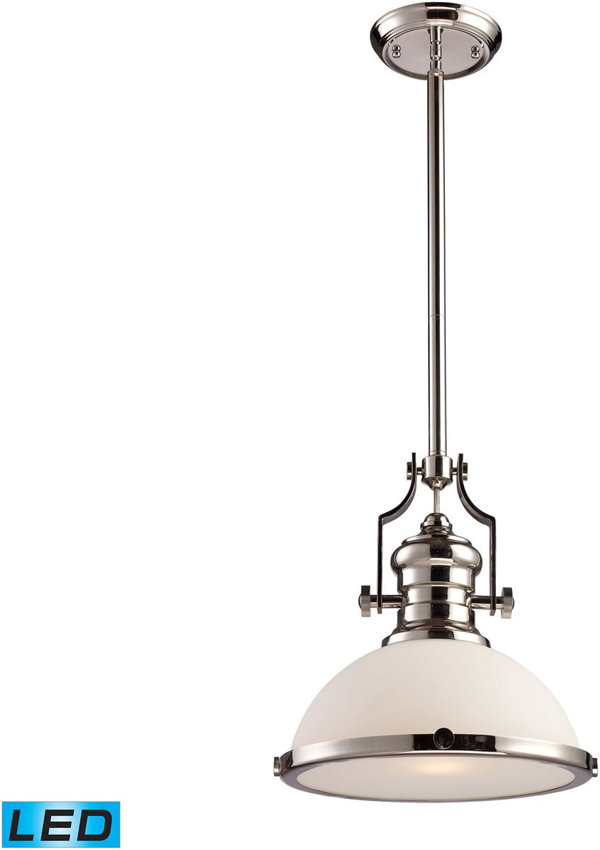 "13""W Chadwick 1-Light LED Pendant Polished Nickel/White Glass"