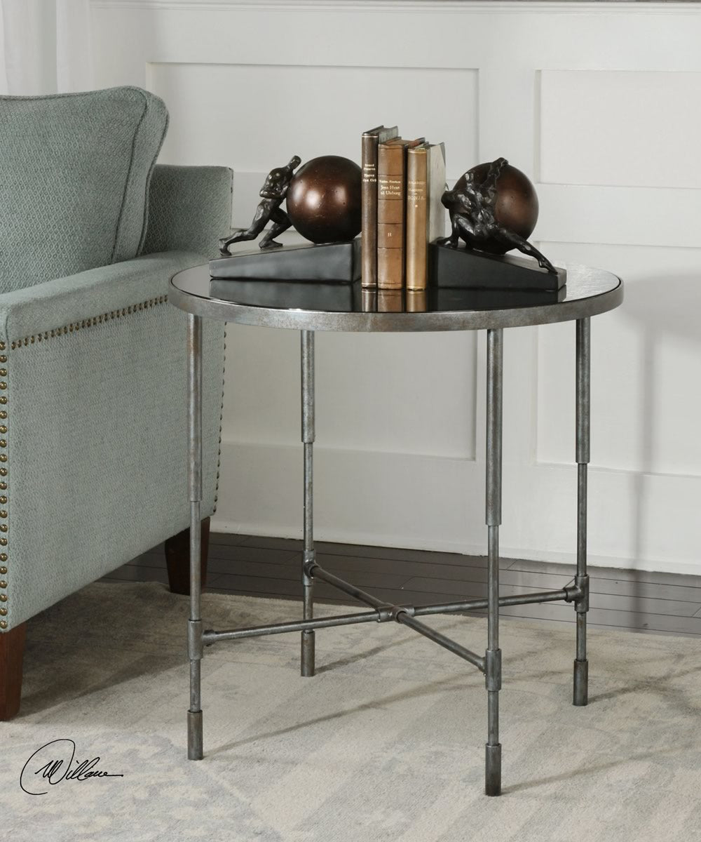 "25""H Vande Aged Steel Accent Table"