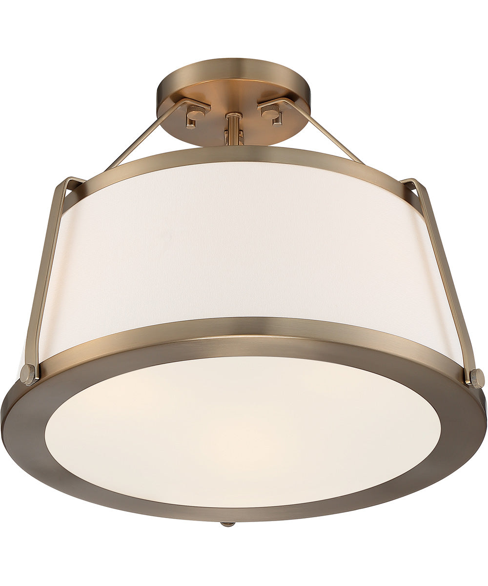"16""W Cutty 3-Light Close-to-Ceiling Burnished Brass"