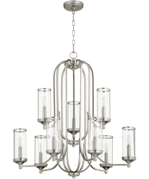 "30""W Collins 9-light Chandelier Satin Nickel"