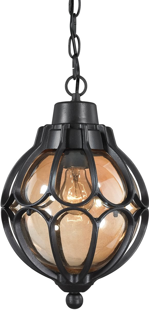 "9""W Madagascar 1-Light Outdoor Pendant Matte Black"
