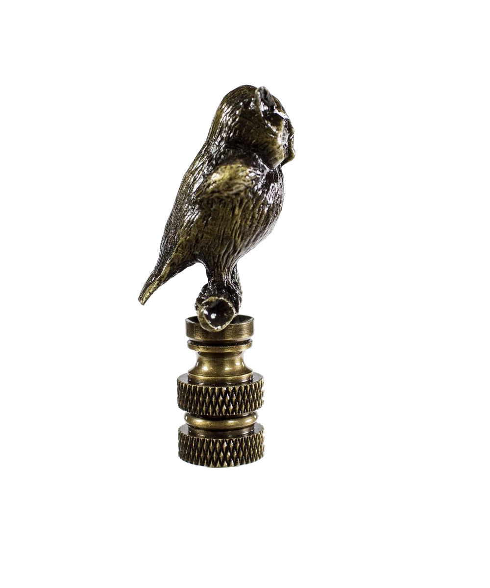 "2""H Night Owl Finial Antique Metal with Clear Glass Eyes"