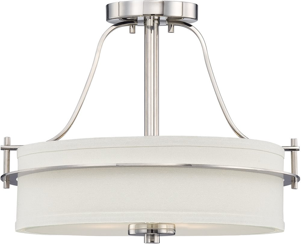 "15""W Loren 2-Light Close-to-Ceiling Polished Nickel / White"