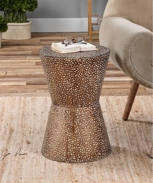 "20""H Cutler Drum Shaped Accent Table"