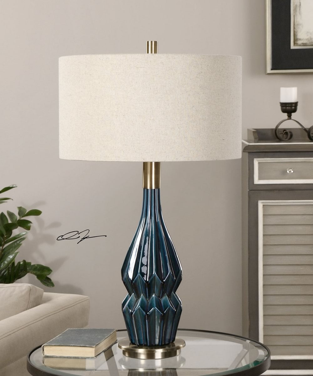 "32""H Prussian Blue Ceramic Lamp"