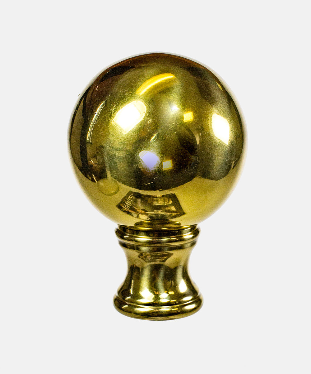 "2""H Sphere Finial Polished Brass"