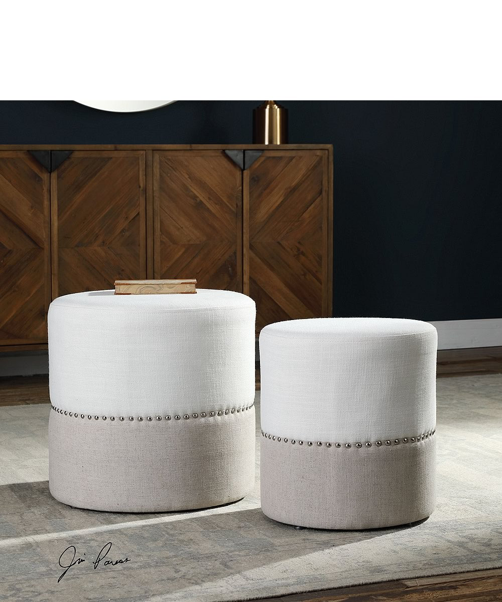 "19""H Tilda Two-Toned Nesting Ottomans Set of 2"