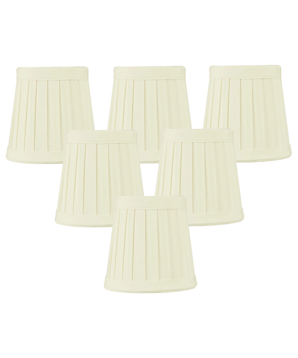 "4""W x 4""H Set of 6 Egg Shell Pleated Clip-on Candelabra Lampshade"