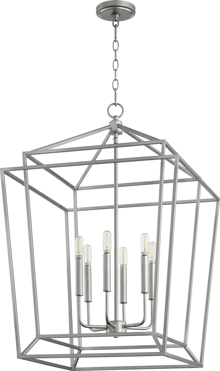 "21""W Monument 6-light Entry Foyer Hall Chandelier Classic Nickel"
