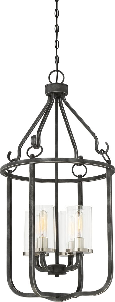 "17""W Sherwood 4-Light Pendant Iron Black / Brushed Nickel Accents"