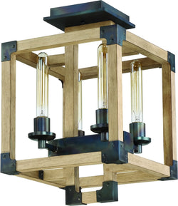 Cubic 4-Light Semi Flush Fired Steel/Natural Wood