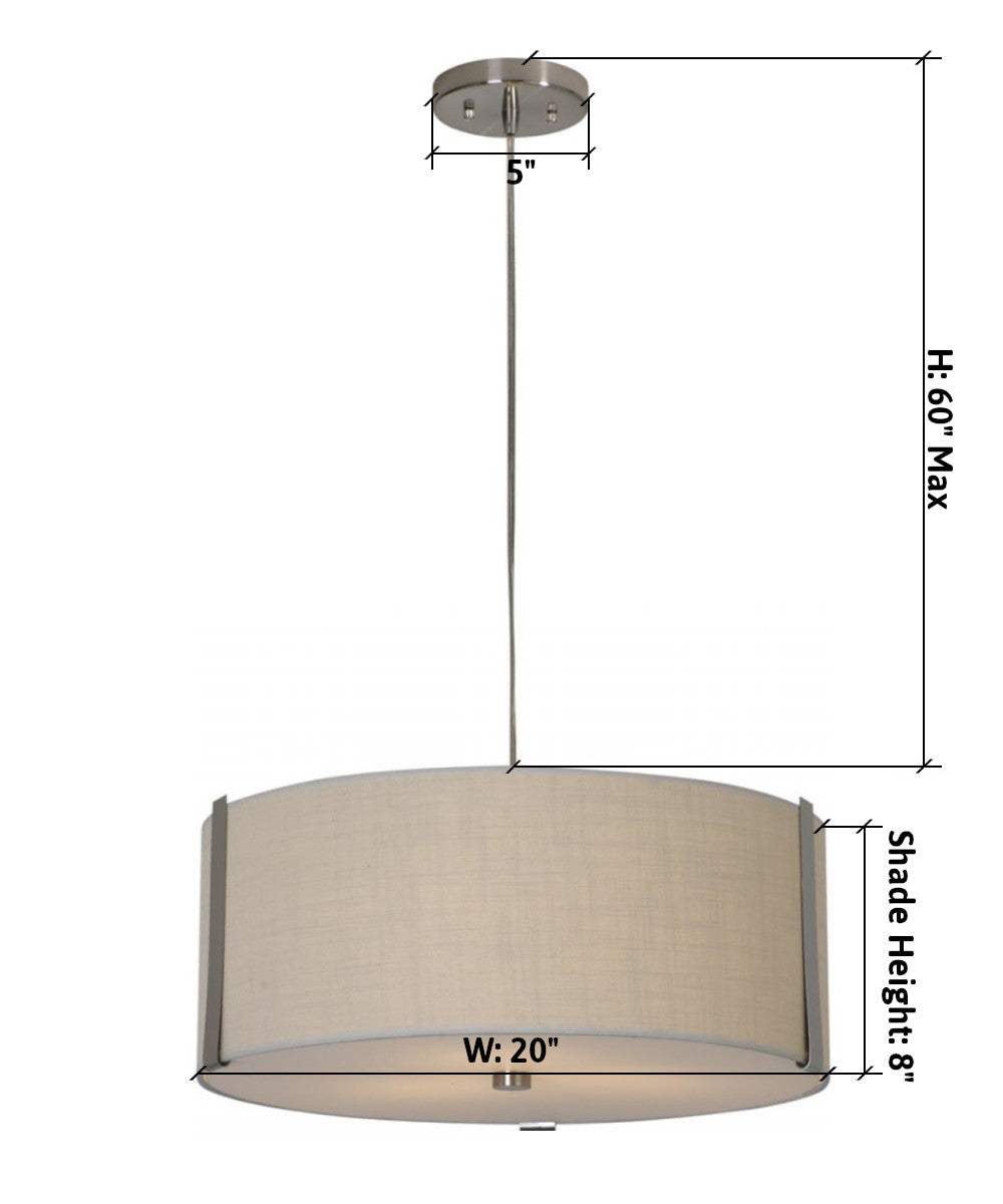 "20""W Butler 3-Light Pendant in Brushed Nickel with Coarse Cream Finish TP7569 by Trend Lighting"