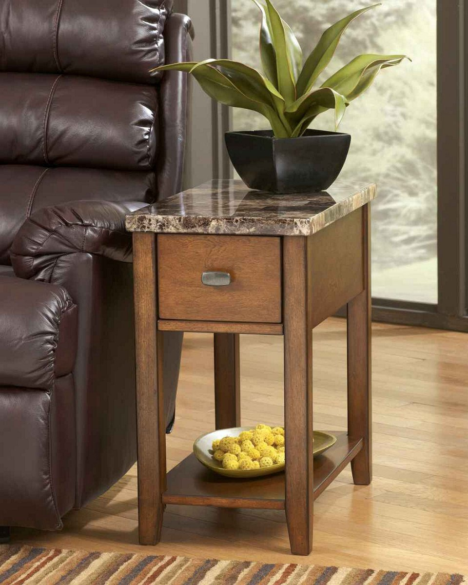 "23""H Theo Chairside Table Medium Brown"