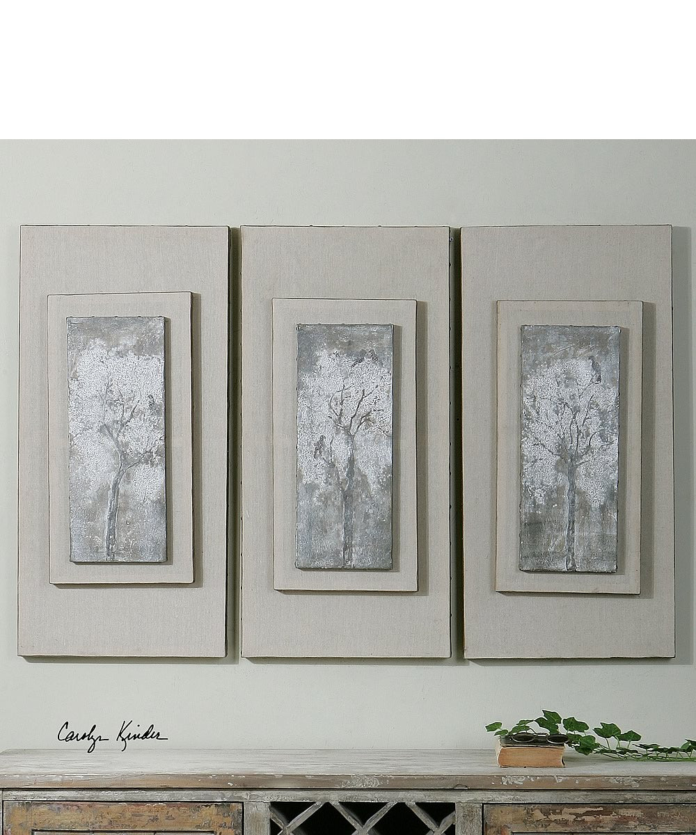 "36""H x 17""W Triptych Trees Hand Painted Art Set of 3"
