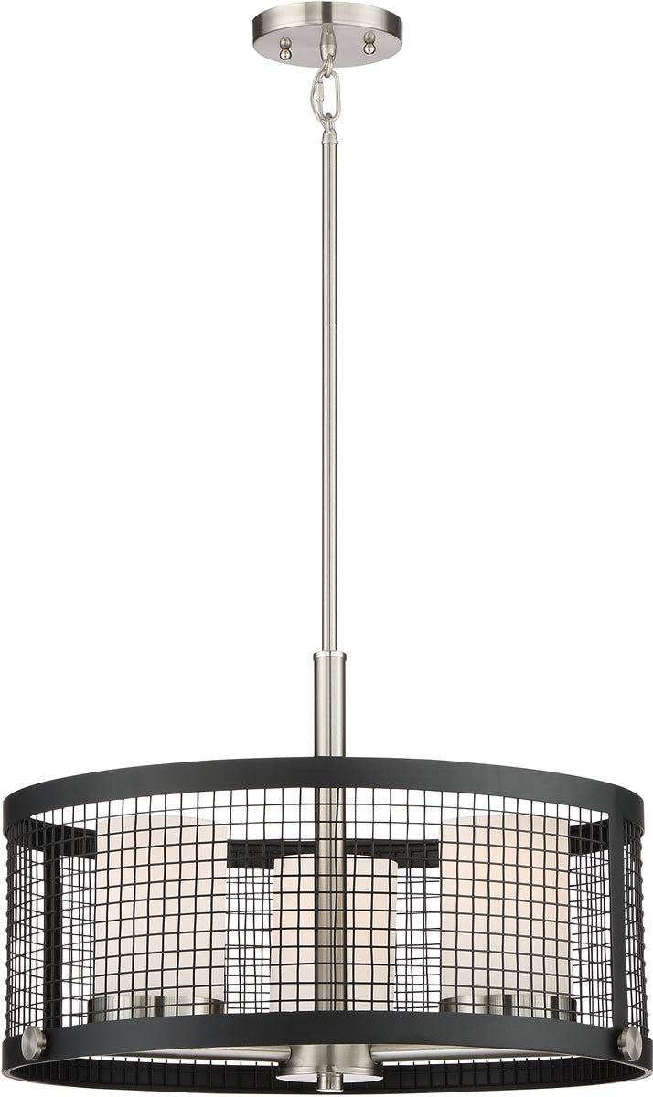 "20""W Pratt 3-Light Pendant Black / Brushed Nickel Accents"