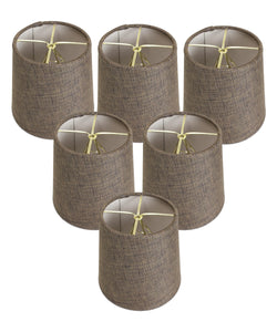 "5""W  x 5""H Set of 6 Chocolate Burlap Drum Chandelier Clip-On Lampshade"