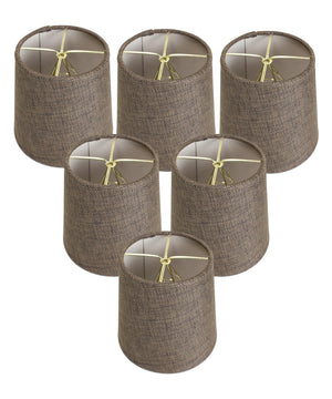 "6""W x 5""H Set of 6 Chocolate Burlap Drum Chandelier Clip-On Lampshade"