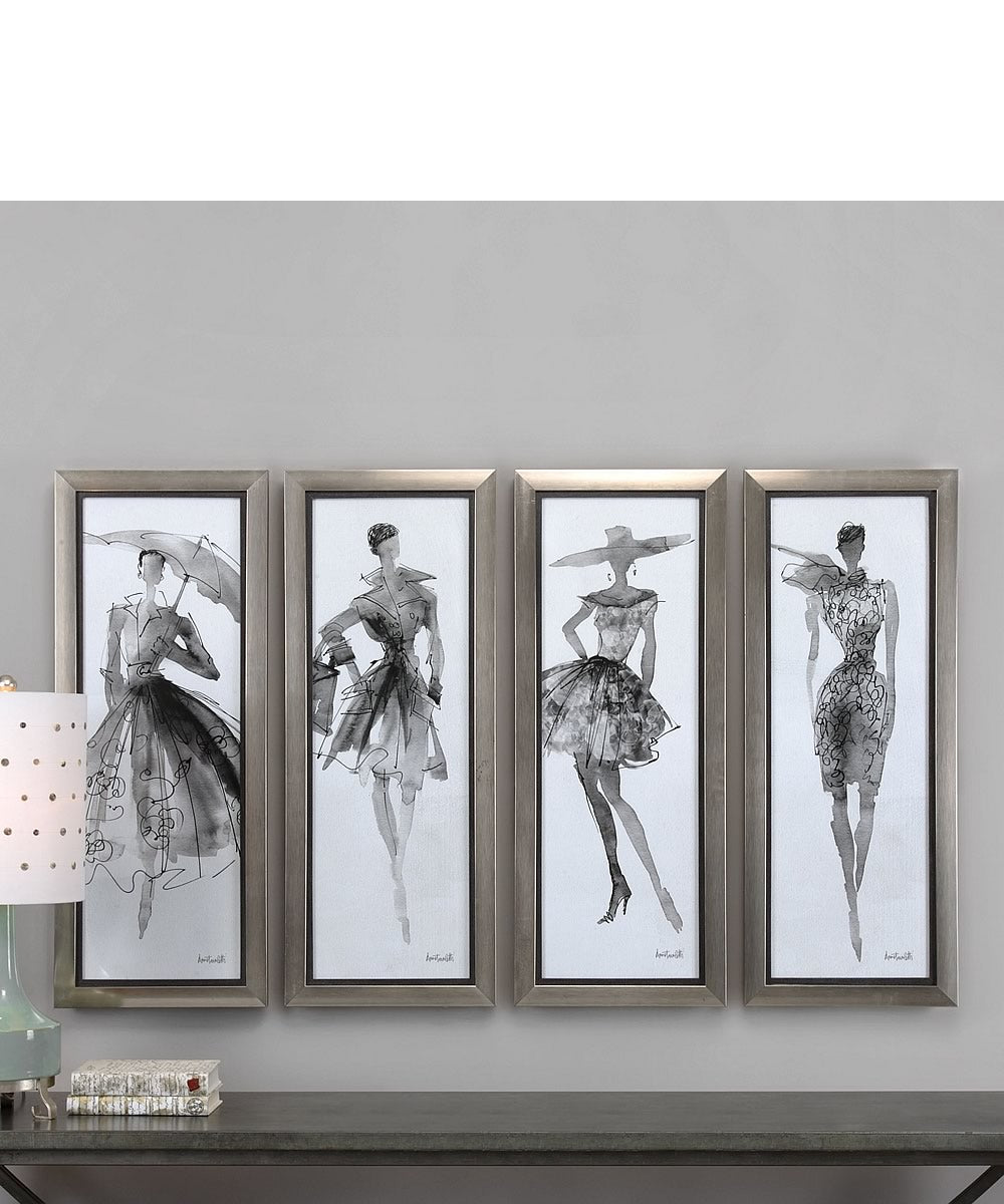 "40""H x 16""W Fashion Sketchbook Art Set of 4"