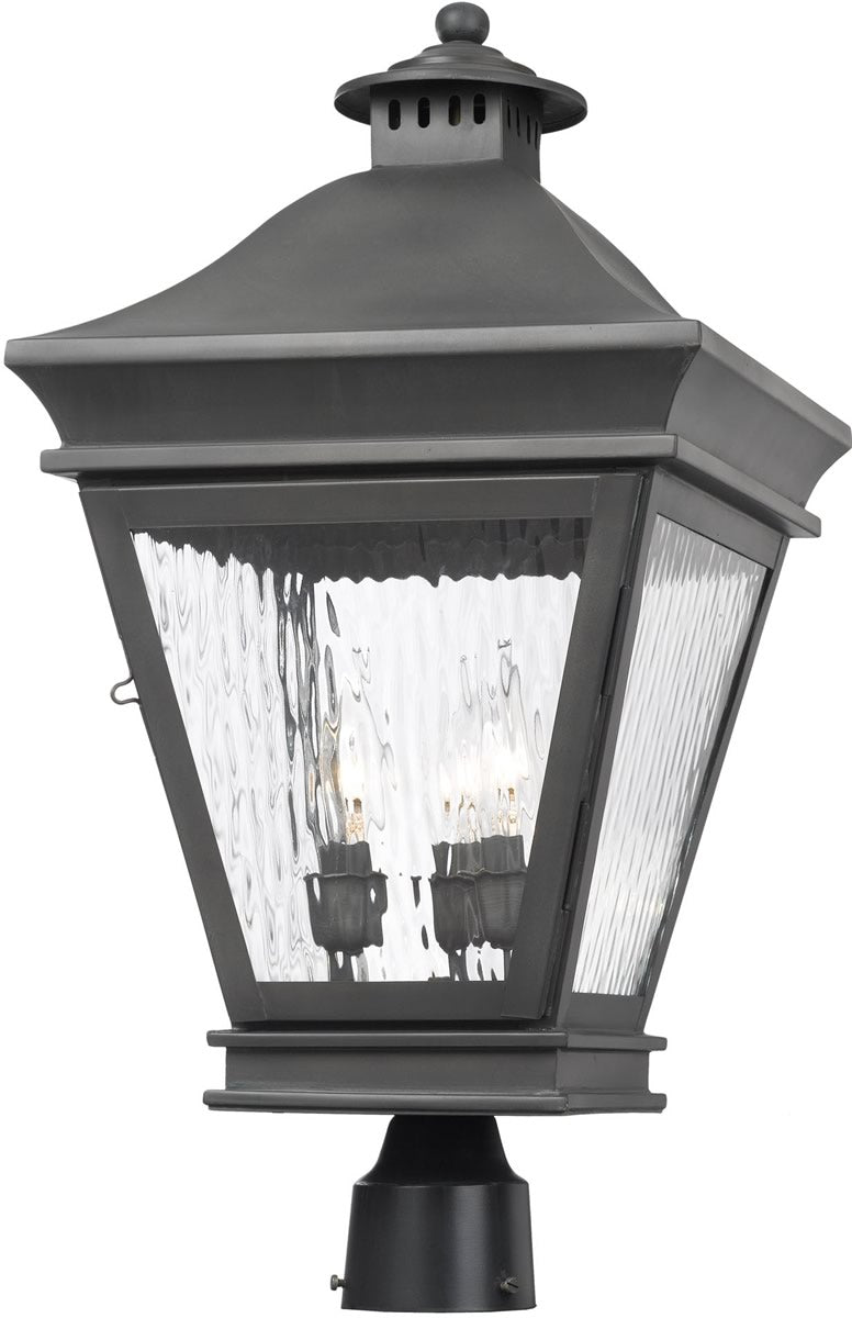 "22""H Landings Outdoor Post Lantern Charcoal/Water Glass"