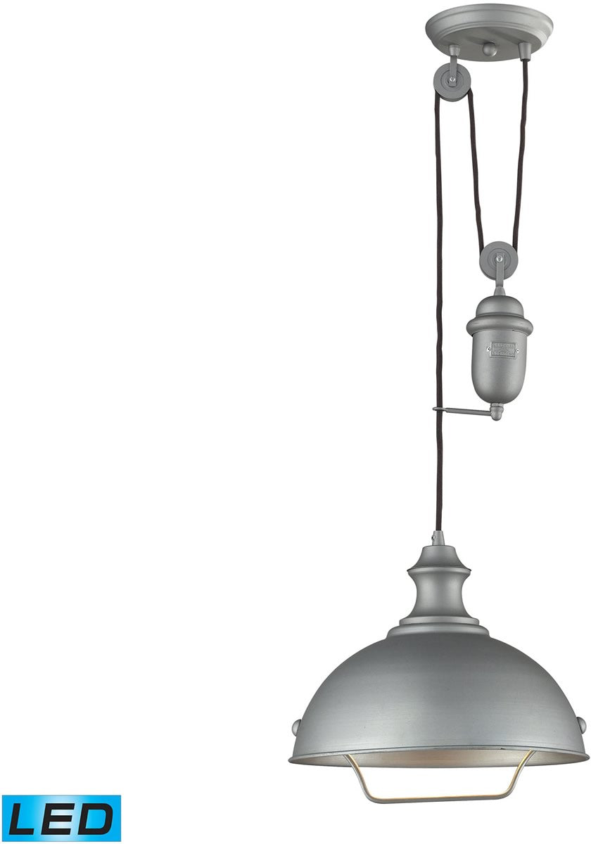 "14""W Farmhouse 1-Light Adjustable LED Pendant Aged Pewter"