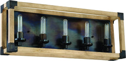 0-002050>Cubic 5-Light Bath Vanity Light Fired Steel/Natural Wood