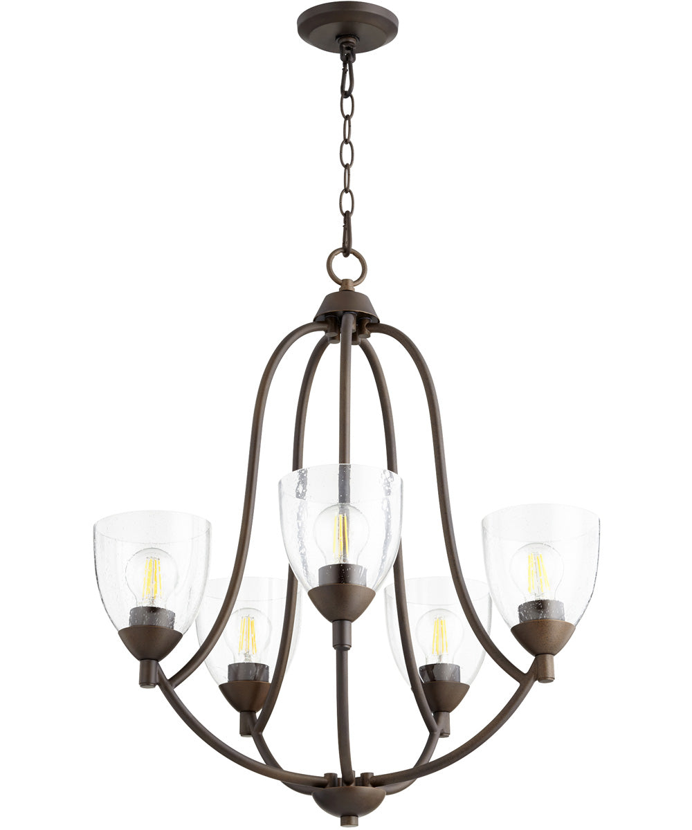 "24""W Barkley 5-light Chandelier Oiled Bronze w/ Clear/Seeded"