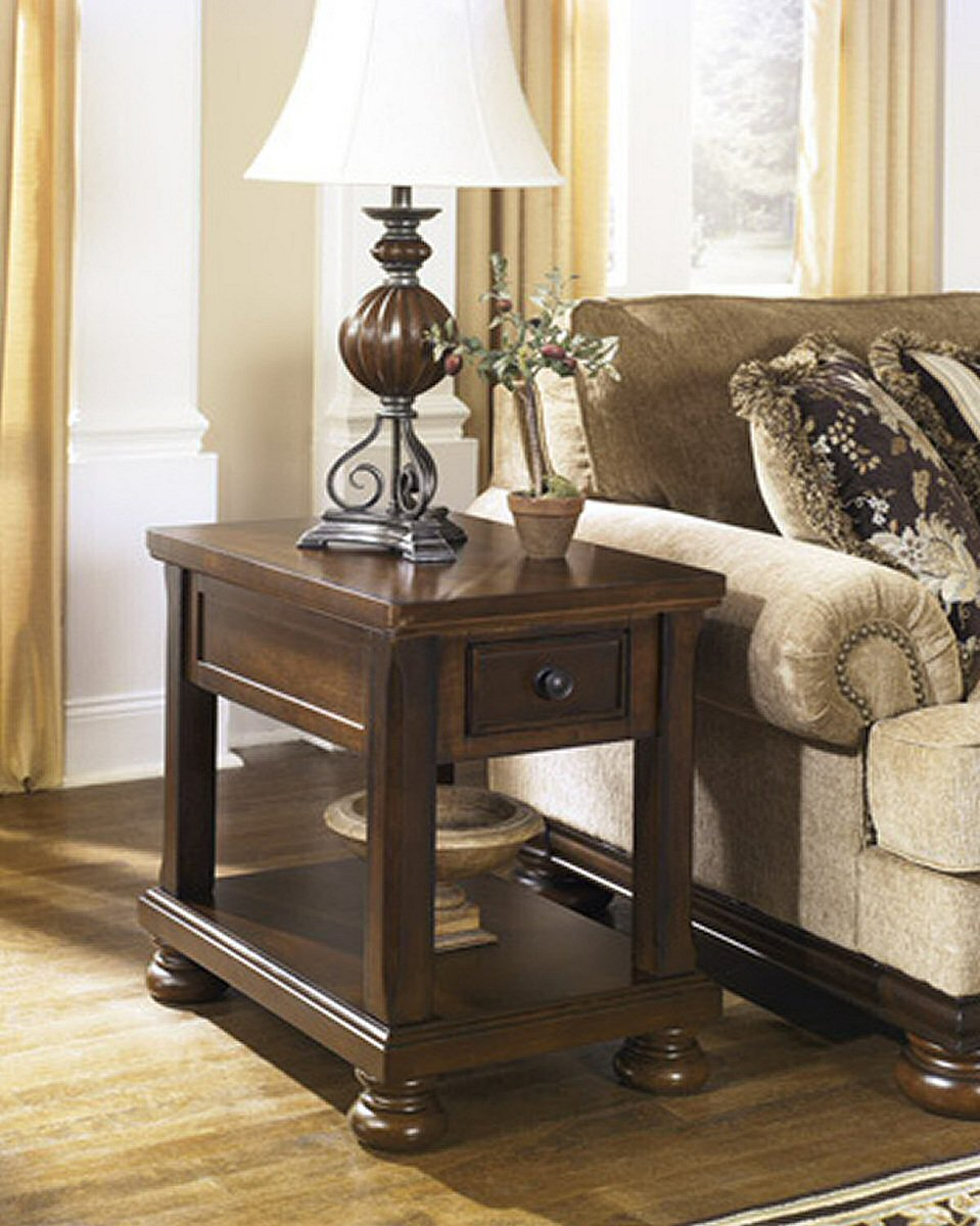 Porter Chair Side End Table Rustic Brown