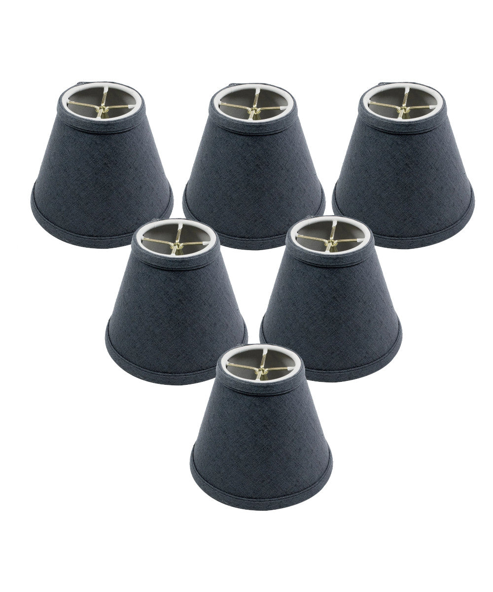 "6""W x 5""H Set of 6 Textured Slate Blue Chandelier Lamp Shade"