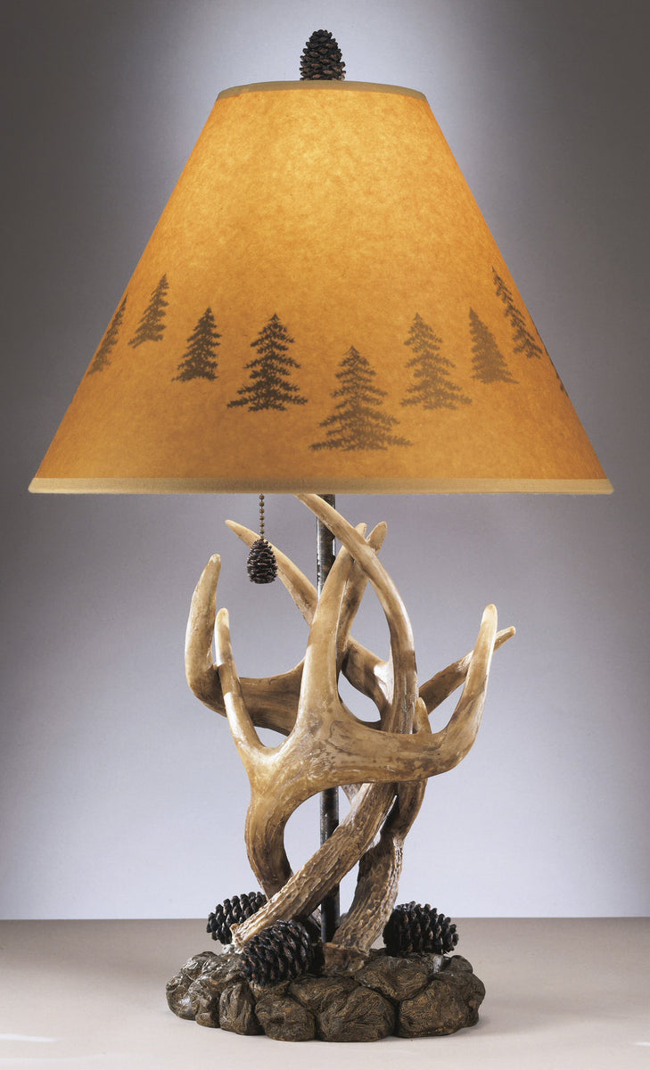 "24""H Derek Set of 2 of Rustic Antlers and Pine Cone Table Lamps"