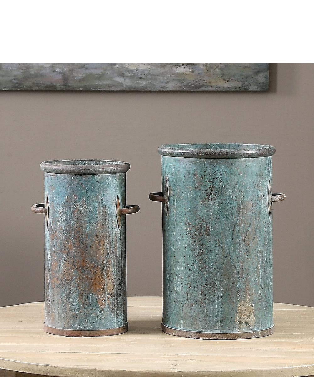 "17""H Barnum Tarnished Copper Cans Set of 2"