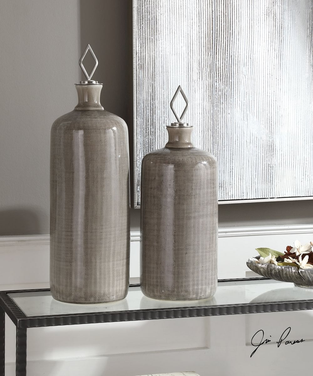 "23""H Dhara Taupe Glaze Bottles Set of 2"