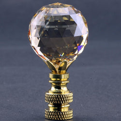 Swarvoski Crystal 30mm Faceted Ball Polished Brass Base Finial