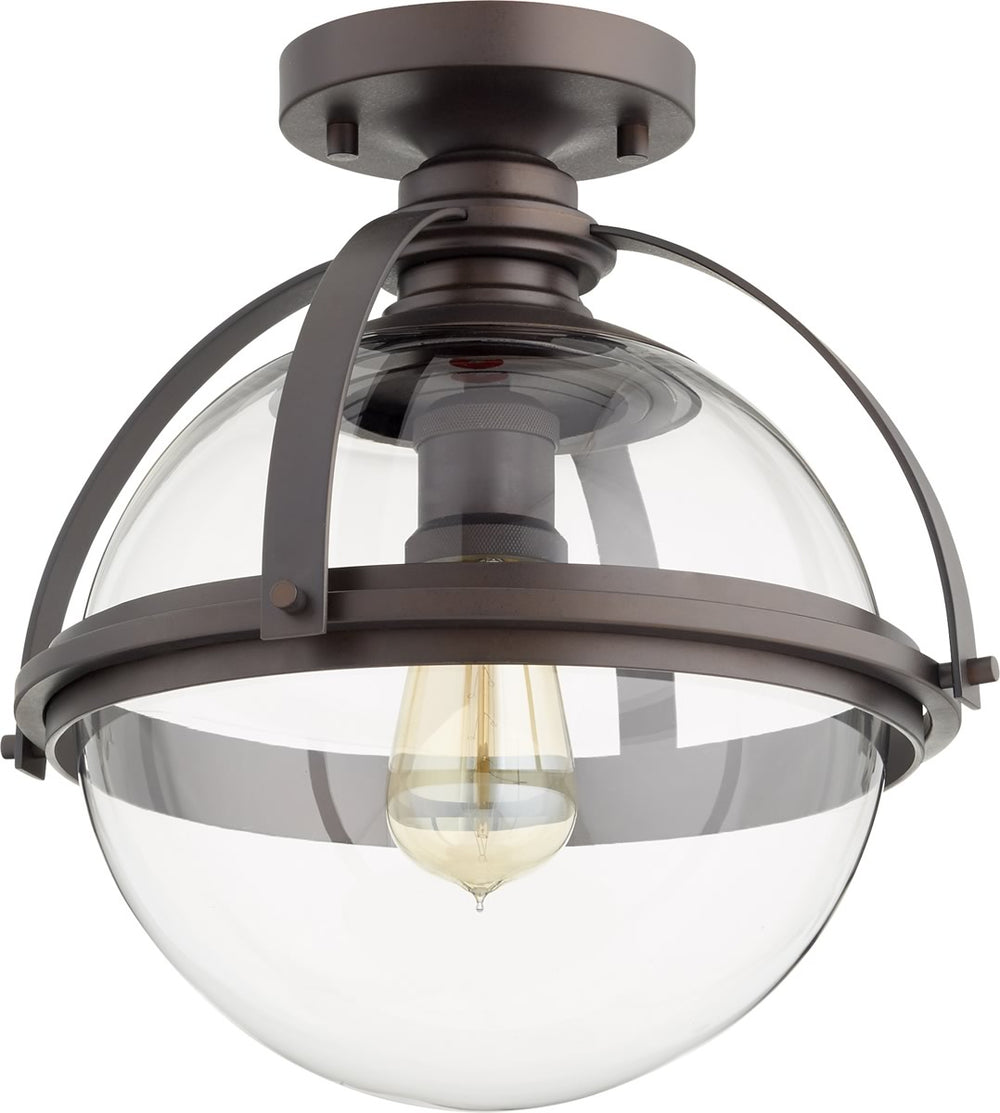 "13""W 1-light Ceiling Flush Mount Oiled Bronze"