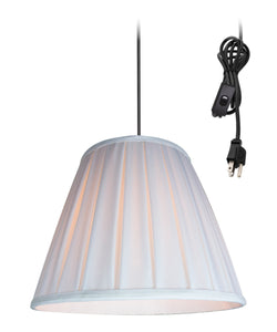 "14""w 1-Light Plug-In Swag Pendant Lamp White"