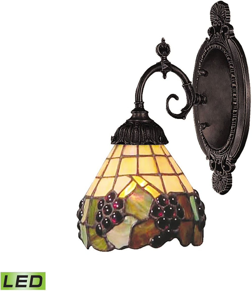 "5""W Mix-N-Match 1-Light LED Wall Sconce Vintage Antique/Stained Glass"