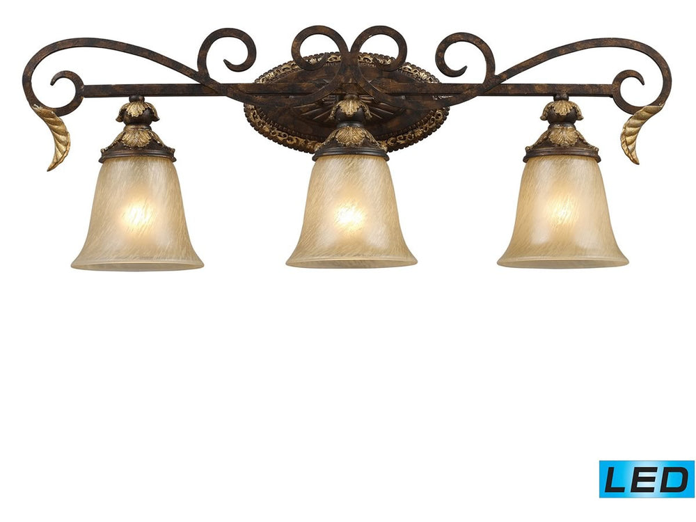 "30""W Regency 3-Light LED Vanity Burnt Bronze/Gold Leaf"