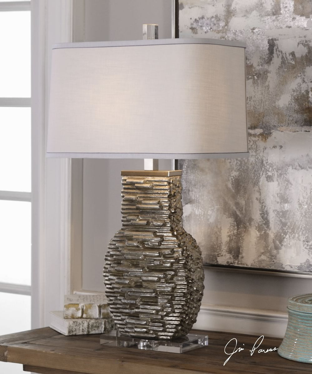 "31""H Clavin Stack Textured Table Lamp"