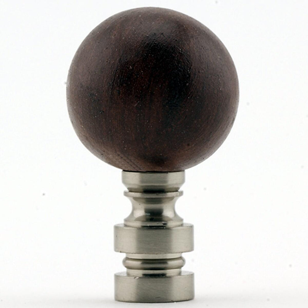 "1""H Ceramic Mahogany Ball Finial Nickel Base"