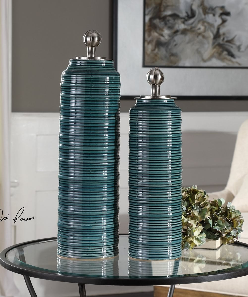 "21""H Delane Dark Teal Canisters Set of 2"