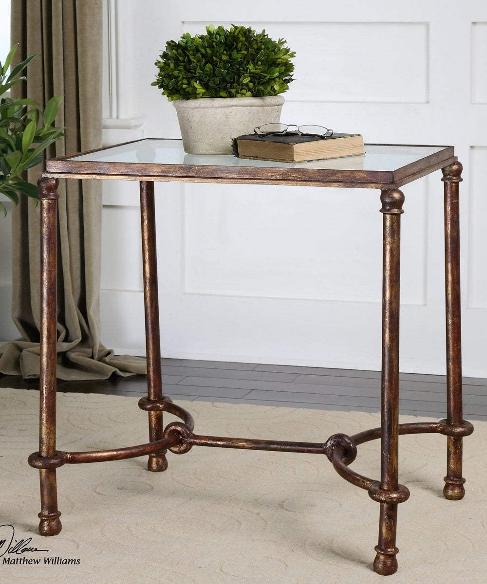 "26""H Warring Iron End Table"