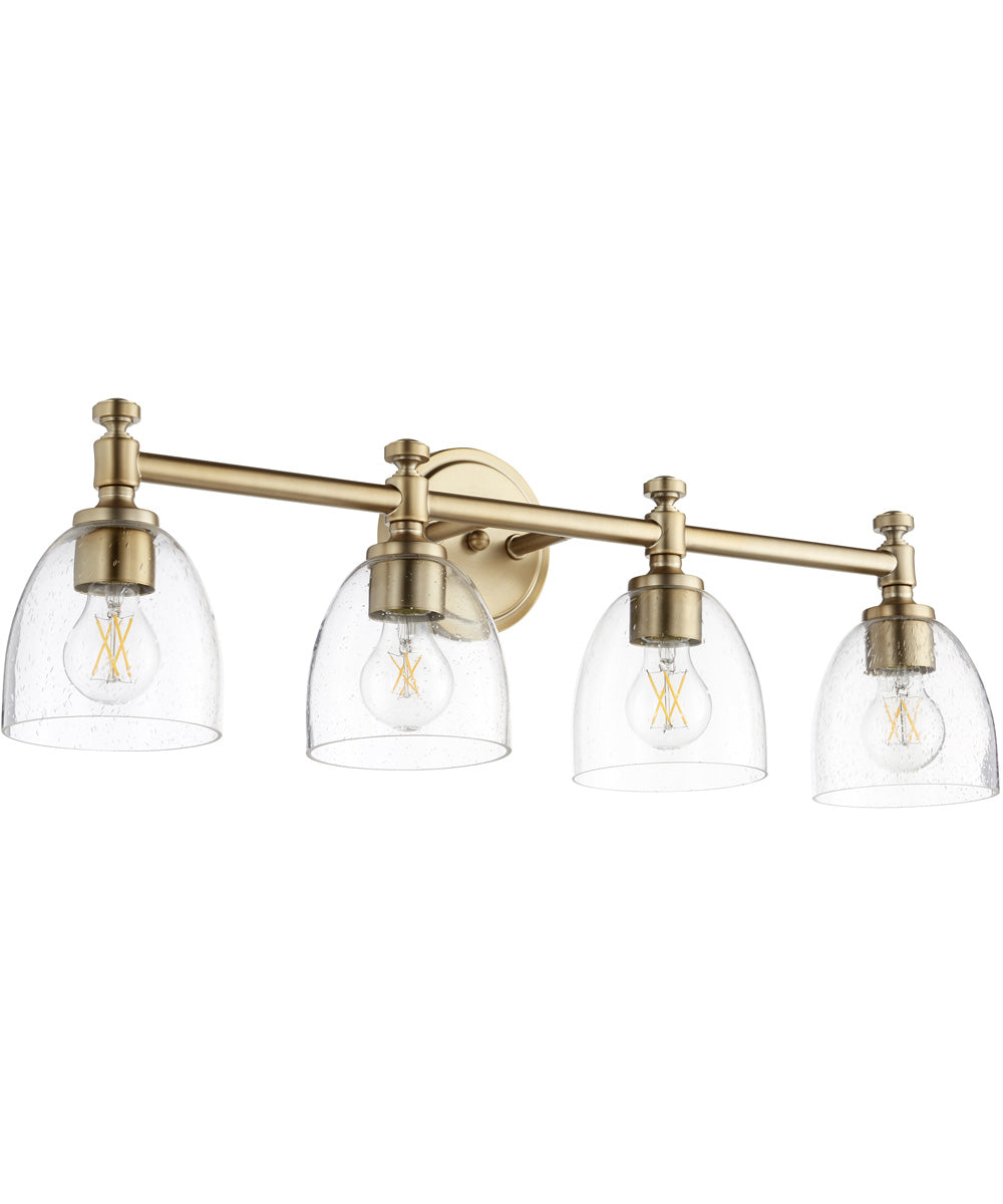 "30""W Rossington 4-light Bath Vanity Light Aged Brass w/ Clear/Seeded"