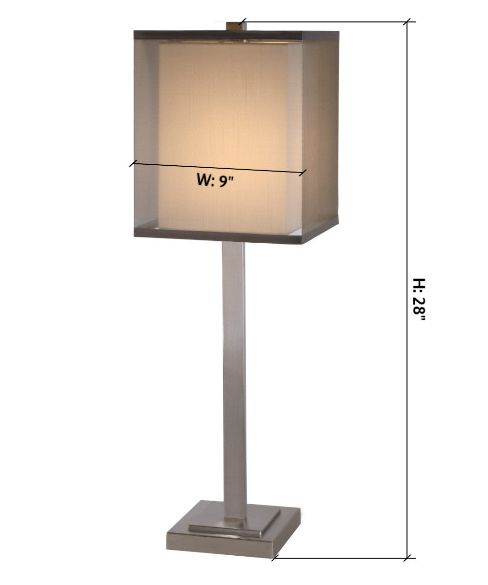 "28""H Boulevard 1-Light Table Lamp in Brushed Nickel Finish TT7422 by Trend Lighting"