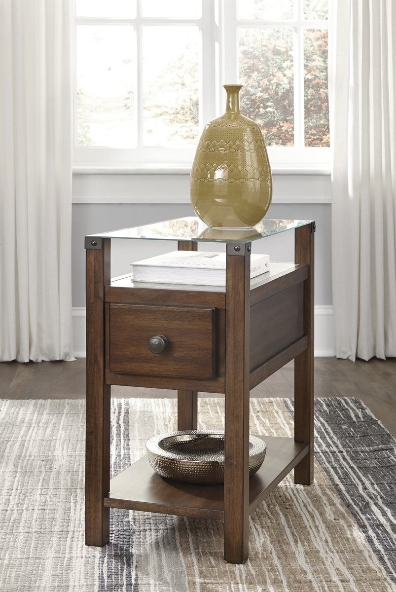 "24""H Diamenton Chair Side End Table Dark Brown"