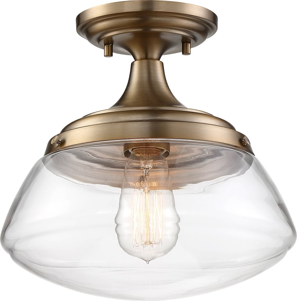 "10""W Kew 1-Light Close-to-Ceiling Burnished Brass / Clear"