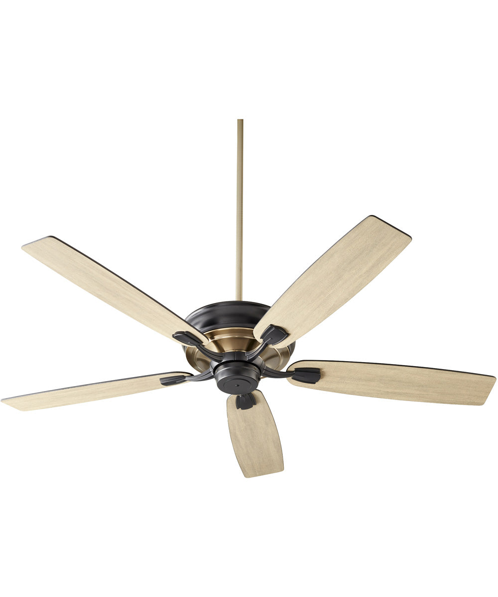 Gamble Ceiling Fan Noir w/ Aged Brass